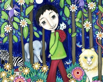 Boys wall art print painting boys room art jungle boy lion zebra elephant cat dragons gift for son boy nephew boys jungle wall art