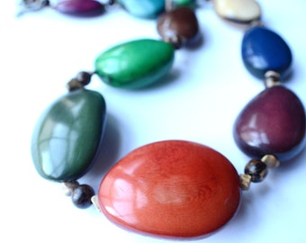 The Pisco- Multi Color Tagua Statement Necklace
