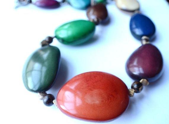 CLEARANCE- The Pisco- Multi Color Tagua Statement Necklace