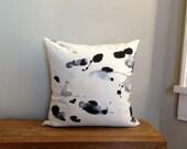 """Ink Blot Hand Printed Linen Pillow 18"""" x 18""""  #301"""