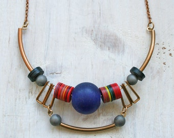 Angeni / Geometric Necklace / Statement Necklace / Vinyl Bead Necklace / Gift