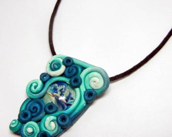 Polymer Clay Dolphin Glass Cabachon Mixed Media Pendant with Necklace