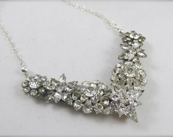 Vintage Rhinestone Brooch Necklace - Statement Brooch Necklace