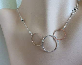 Silver links necklace. mother's gift, sisters, new mom, Camp Sundance jewelry mixed metals