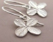 Sterling Silver Flower Earrings - Tiny Bright Hydrangea