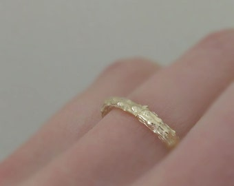 Twig Ring in 14k Yellow Gold - Pine Branch Stacking Ring - Recycled Gold