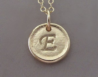 Tiny 14k Yellow Gold Initial Necklace - Pebble