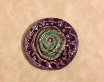 Purple teal stoneware cabochon odd19