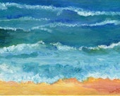 Seascape, original ocean art painting, 6 x 8, acrylics on canvas panel. acrylic painting beach,  water, beach shore art. beach artwork