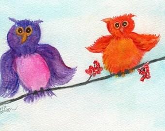 Owls watercolor painting, purple owl, orange owl 5 x 7 whimsical owls Artwork Original, bird watercolors painting bird art, animal art