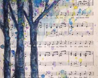 SOLD Watercolor painting on vintage upcycled sheet music Tree painting Nature original art Recycled paper