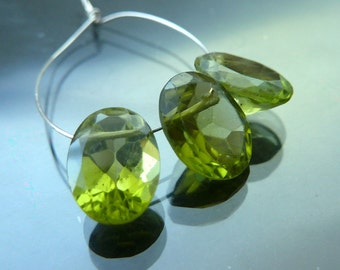Faceted Peridot Briolettes Oval Cut Beads Gemstones trio 4.15 cts brios apple green