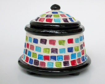 Ceramic Candy Jar with Rainbow Squares and Feet