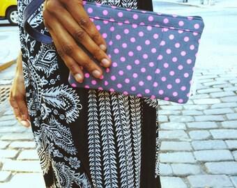 Hot Pink Neon Wristlet Wallet, Neon Wristlet Purse, Pink Neon Clutch Bag, Neon Pink Polka Dots Rawen Wristlet, Neon Color Wallet