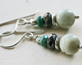 White Turquoise and Hematite Sterling Silver Earrings