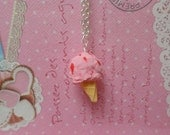 Mini Food Jewelry: Strawberry Ice Cream Cone Necklace, Miniature Food Jewelry, Polymer Clay Food Necklace