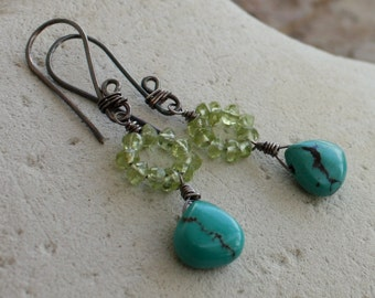 PERIDOT earrings, TURQUOISE earrings, Peridot and Turquoise earrings, sterling silver