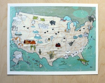 US Map - Archival Print