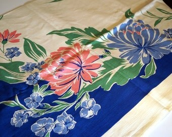 Vintage 50s Tablecloth 1950s Retro Linens Blue Pink Green Cream Floral New Old Stock NWT 52 x 70 Collectible