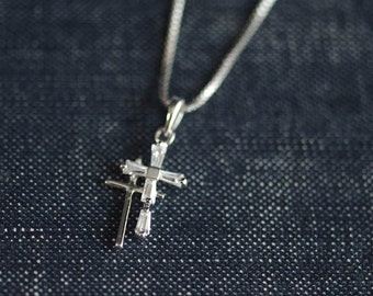 CZ Sterling Double Cross Necklace on Fancy Box Chain - Catholic Jewelry, Simple Sterling Silver Cross Necklace, Dainty Cross Charm Necklace