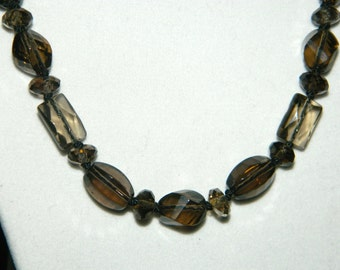 Smoky Quartz Knotted on Silk Cord Gemstone Necklace