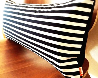 Black & White Stripes Pattern Rectangle Pillow