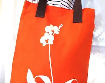 SALE Orange Orchid Shoulder Tote Bag