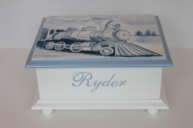 baby keepsake box memory box watercolor train baby gift hand. Black Bedroom Furniture Sets. Home Design Ideas