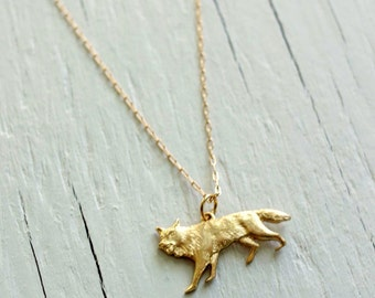 Direwolf Necklace from House Stark on Gold Chain - Game of Thrones Jewelry