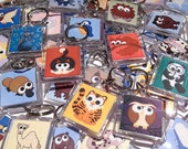 Cute Animal Keyring (listing for 1 keyring only) - your choice of cartoon creature on a square plastic keychain, design by Kim Onyskiw