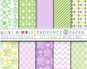80% off Digital scrapbook papers roses, shabby chic in lavendar, purple, green, yellow Provence DIGITAL DOWNLOAD
