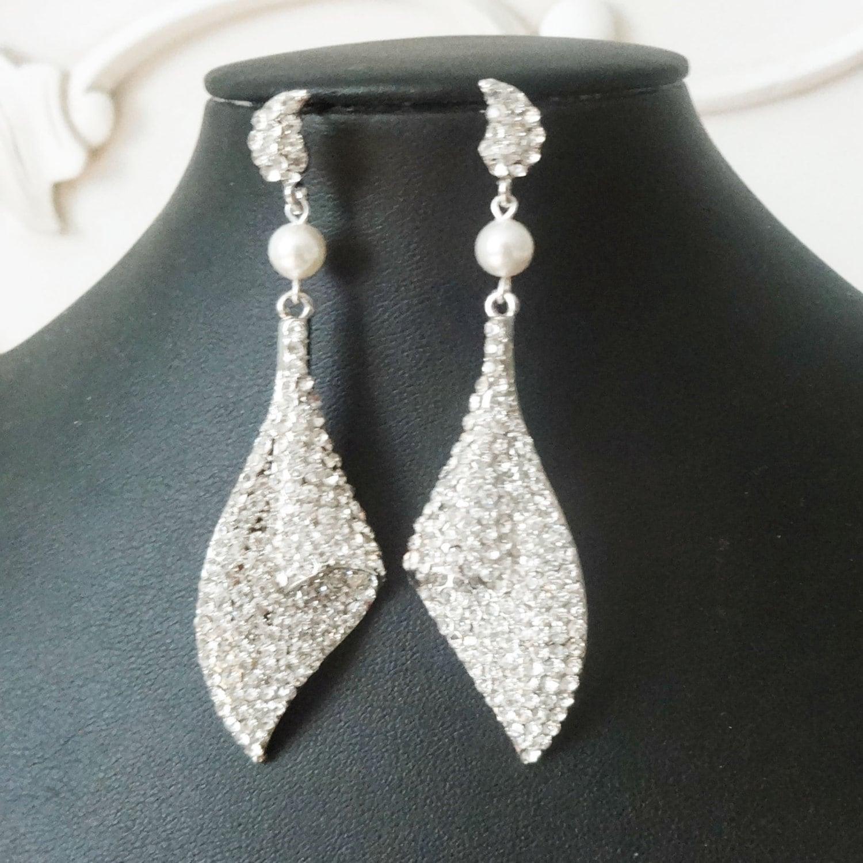 Vintage Style Earrings: Vintage Style Bridal Earrings Chandelier Wedding Earrings