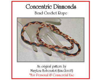 Bead Crochet Pattern ... CONCENTRIC DIAMONDS ... Necklace . Beaded Jewelry . Four Color . Tutorial . Graph . Commercial and Personal Use