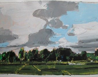 Playing Fields, Original Landscape Painting on Paper, Stooshinoff