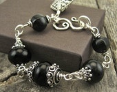 RESERVED for sphenderson2 Onyx Sterling Bracelet, Black and Silver
