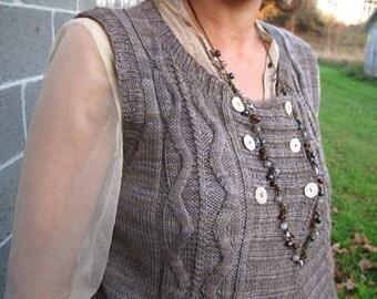 Wichita Cabled Vest Knitting Pattern PDF