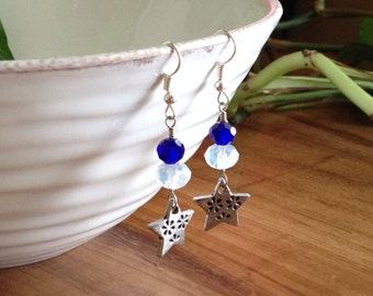 Crystal, Opalite and Silver Star Earrings