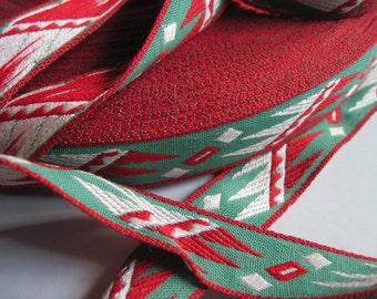 vintage southwestern design cotton trim red and green 2 yards