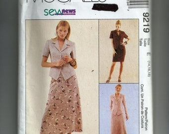 McCall's Misses' Unlined Jacket and Skirt Pattern 9219