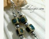 50% Off Entire Shop Blue Cube Porcelain Earrings