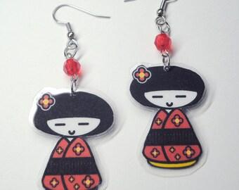 Red Kokeshi Doll Earrings