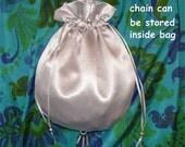 Wedding bridal purse silver gray satin cross body bag reticule silver chain