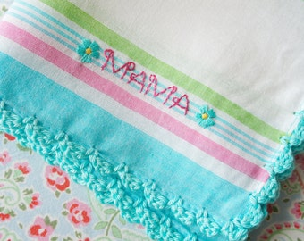 Mama  - Crocheted and Hand Embroidered Hankie