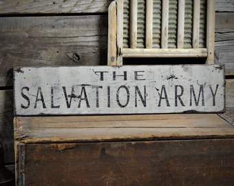 Distressed Salvation Army Sign - Rustic Hand Made Vintage Wooden ENS1000582