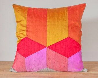 """Tumbling Blocks Throw Pillow in Warm - 20"""" Color Block Pillow - Optical Illusion LAST ONE!"""