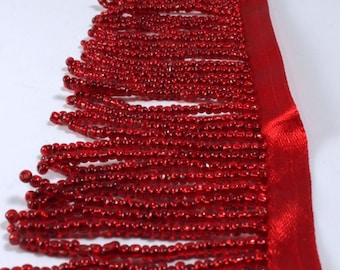 """Glass Beaded Fringe By the Foot, Silver-Lined Red, 2"""" (FRI037)"""
