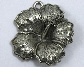 22mm Antique Silver Hibiscus Flower Pendant #CMB054