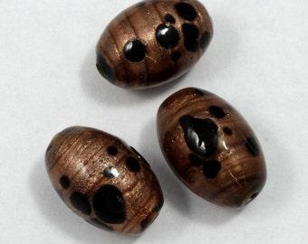 13mm x 18mm Black/Bronze Oval Bead (4 Pcs)  #1419