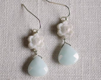 CLEARANCE . laylani . mint // silver flower earrings . mint and white earrings . mint flower earrings