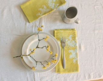 chartreuse yellow scrolls batik dinner napkins